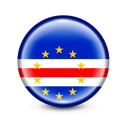 Cape Verde Flag Round Button. Vector Illustration