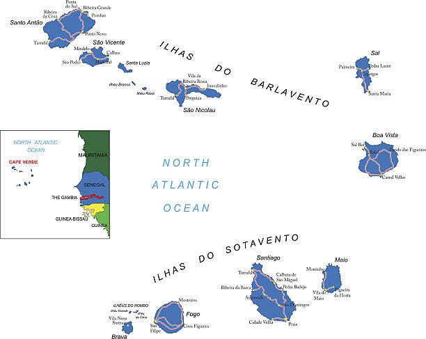 ilustrações de stock, clip art, desenhos animados e ícones de ilhas cabo verde do mapa - cabo verde
