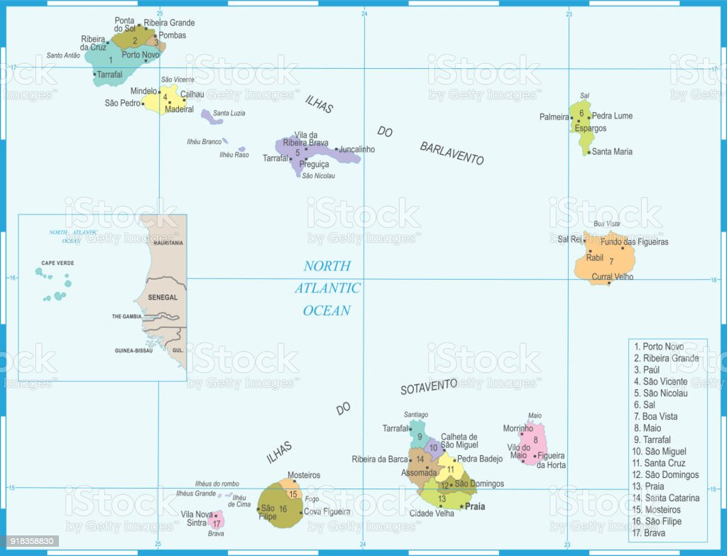 Cape Verde Map Detailed Vector Illustration Stock ...