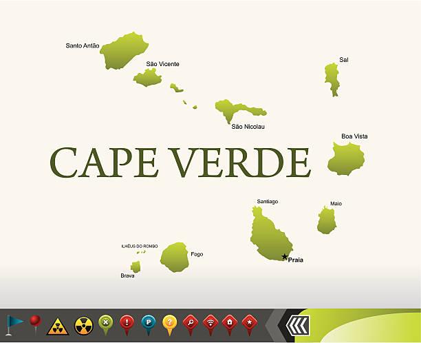ilustrações de stock, clip art, desenhos animados e ícones de cabo verde mapa com ícones de navegação - cabo verde