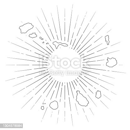 istock Cape Verde map with sunbeams on white background 1304578584