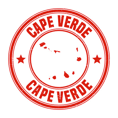 Cape Verde - Red grunge rubber stamp with name and map