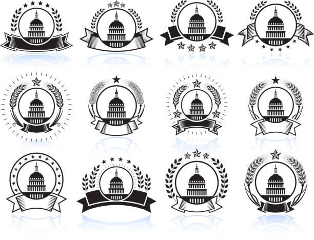 capital hill auf schwarz und weiß-abzeichen - abgeordnetenhaus stock-grafiken, -clipart, -cartoons und -symbole