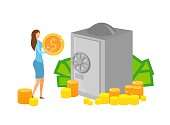Capital Investment, Savings Vector Illustration. Businesswoman Holding Golden Coin Cartoon Character. Safe with Cash, Bank Deposit, Money Management, Banking Business. Successful Entrepreneurship