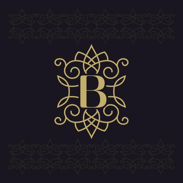 großbuchstabe b. beautiful monogramm. elegante logo. kalligraphische gestaltung. luxus-emblem. vintage ornament. einfache grafik-stil. boutique-marke auf schwarzem hintergrund gedeiht. vektor-illustration - monogrammarten stock-grafiken, -clipart, -cartoons und -symbole