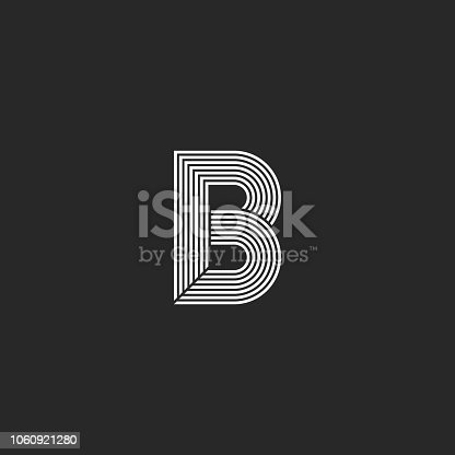 Capital letter B logo monogram mockup. Creative shape white and black parallel lines template for emblem minimal style initialal