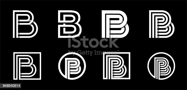 istock Capital letter B. Modern set for monograms, logos, emblems, initials. Made of white stripes Overlapping with shadows. 949340514