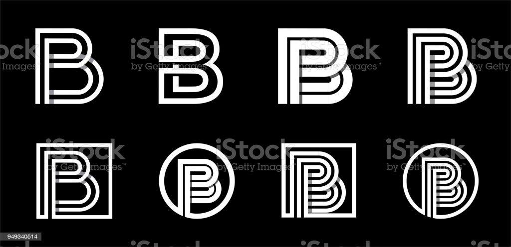 Letra B. moderno set para monogramas, insignias, emblemas, siglas. De blanco rayas traslapado con sombras. - ilustración de arte vectorial