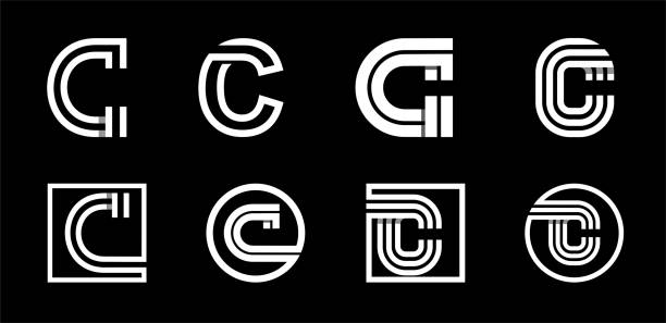 Capital letter C. Modern set for monograms, logos, emblems, initials. Made of white stripes Overlapping with shadows. Capital letter C. Modern set for monograms, logos, emblems, initials. Made of white stripes Overlapping with shadows letter c stock illustrations