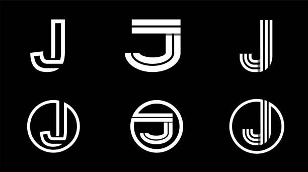 Capital letter J. Modern set for monograms, logos, emblems, initials. Made of white stripes Overlapping with shadows. Capital letter J. Modern set for monograms, logos, emblems, initials. Made of white stripes Overlapping with shadows letter j stock illustrations