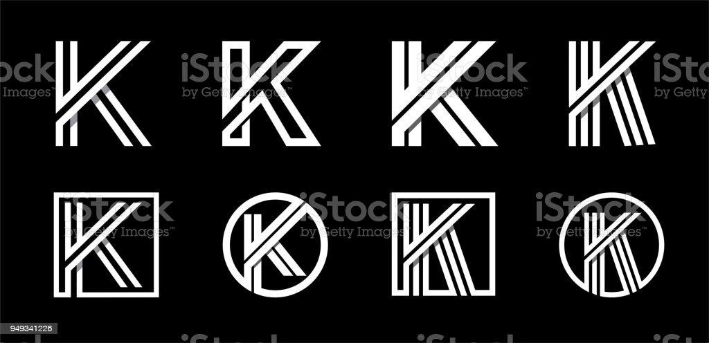 Capital letter K. Modern set for monograms, logos, emblems, initials. Made of white stripes Overlapping with shadows. Capital letter K. Modern set for monograms, logos, emblems, initials. Made of white stripes Overlapping with shadows Advertisement stock vector