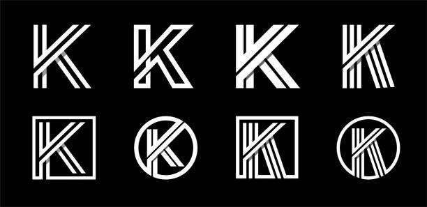Capital letter K. Modern set for monograms, logos, emblems, initials. Made of white stripes Overlapping with shadows. Capital letter K. Modern set for monograms, logos, emblems, initials. Made of white stripes Overlapping with shadows k logo illustrations stock illustrations