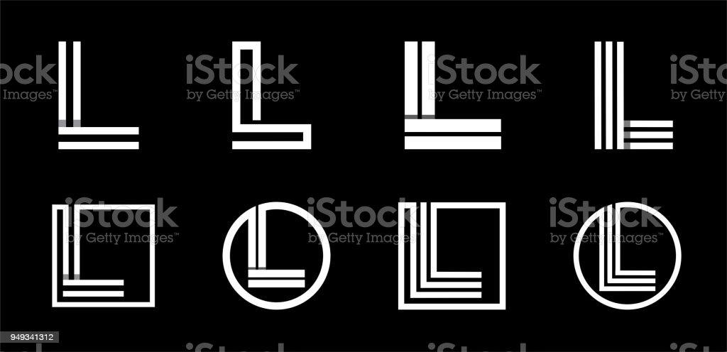 Großbuchstabe L. Modern set für Monogramme, Initialen, Logos, Embleme. Gemacht von weißen Streifen Überlappungen mit Schatten. – Vektorgrafik