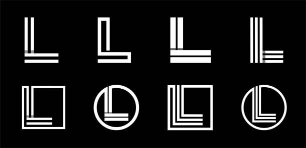 Capital letter L. Modern set for monograms, logos, emblems, initials. Made of white stripes Overlapping with shadows. Capital letter L. Modern set for monograms, logos, emblems, initials. Made of white stripes Overlapping with shadows letter l stock illustrations