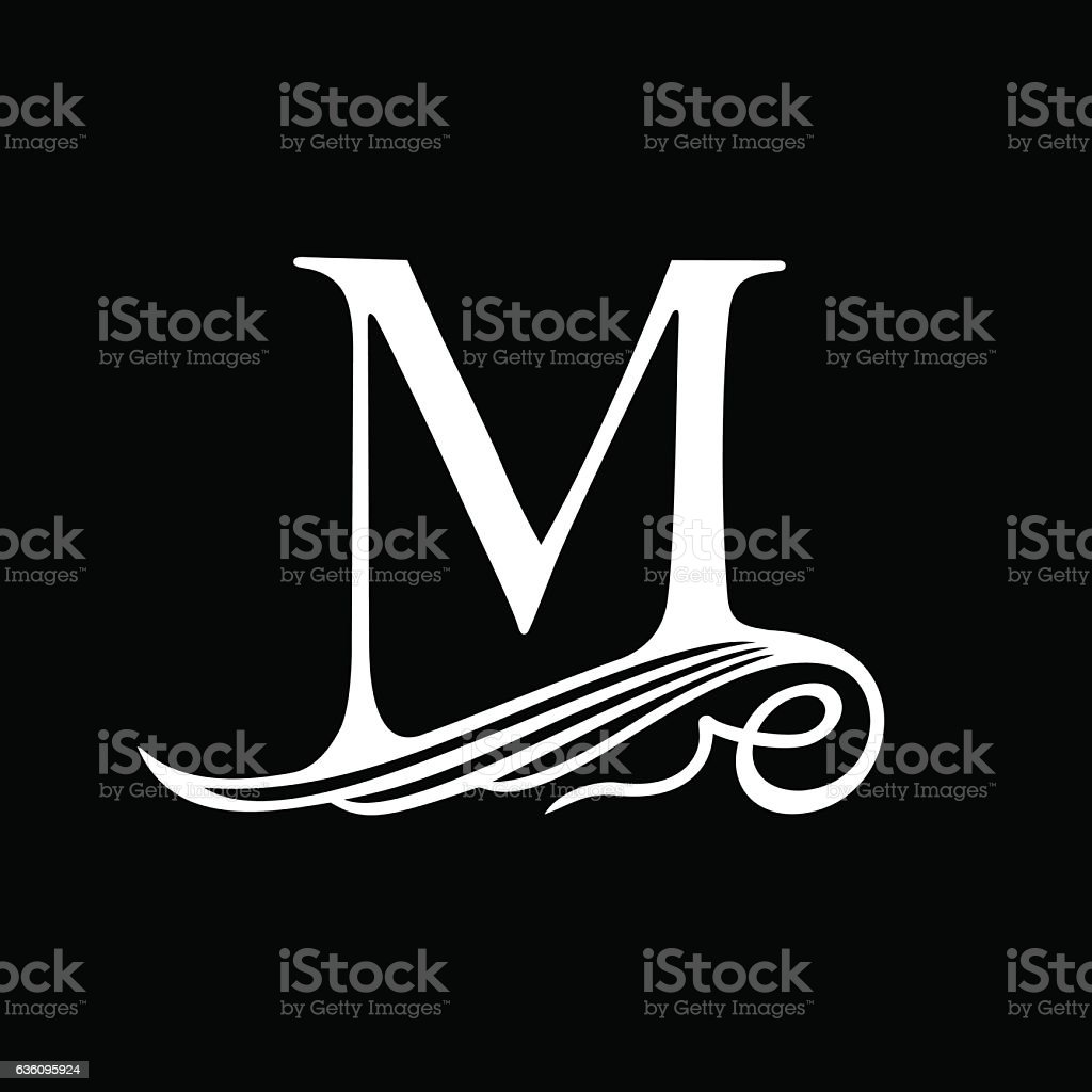 Capital Letter M for Monograms, Emblems and Logos. Beautiful Filigree vector art illustration