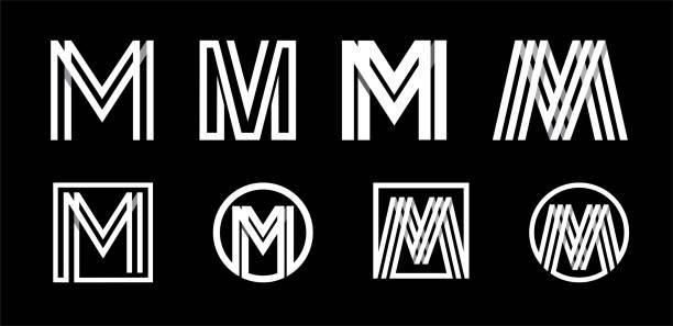 ilustrações, clipart, desenhos animados e ícones de letra maiuscula m. modern definido para monogramas, emblemas, logotipos, iniciais. feita de white stripes sobreposição com sombras. - capitel
