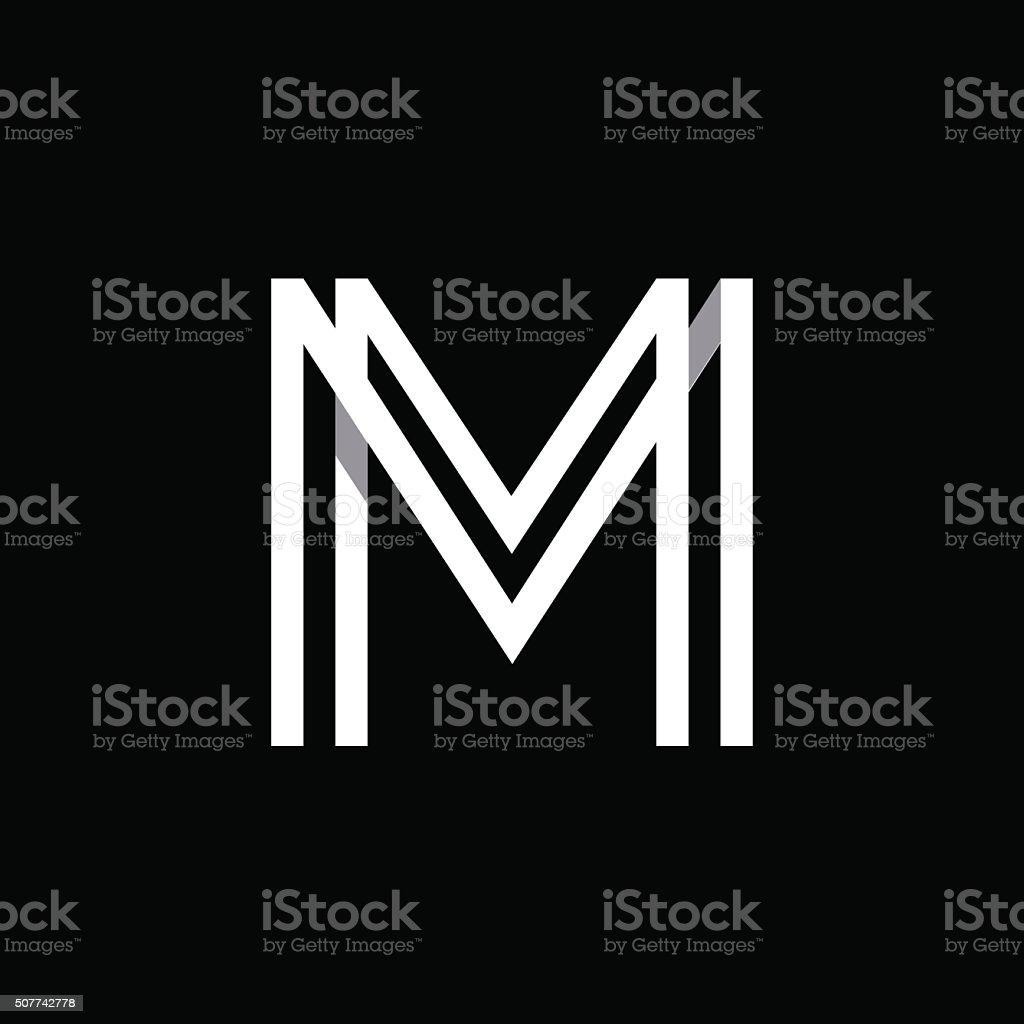 Wielka Litera M Pokrywania Się Z Cienie Logo Monogram Modny Wygląd