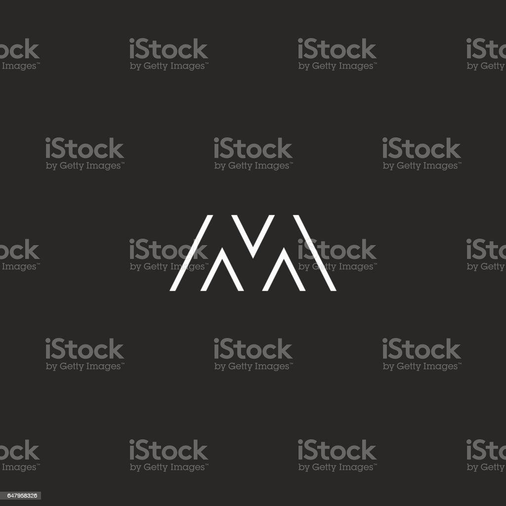 Capital letter M simple thin line initial monogram, black and white hipster stylish branding emblem vector art illustration