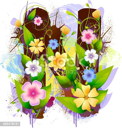 Capital Letter N, created by flowers and leaves, EPS 10, all elements are in
