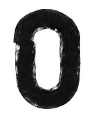 Letter O and 0 (zero) in vector. Hand painted graphic element made by paint roller and thick black acrylic paint.\nAmazing and original design. Zoom to see the details.\nVECTOR FILE - enlarge without lost the quality!\nLetter isolated on white paper background.
