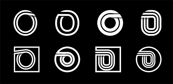 Capital letter O. Modern set for monograms, logos, emblems, initials. Made of white stripes Overlapping with shadows.
