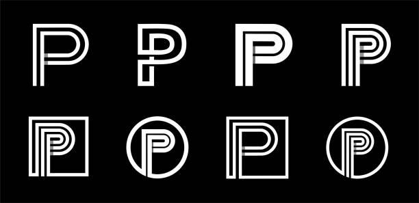 stockillustraties, clipart, cartoons en iconen met hoofdletter p. modern ingesteld voor initialen, monogrammen, logo's, emblemen. gemaakt van witte strepen van overlappende met schaduwen. - letter p