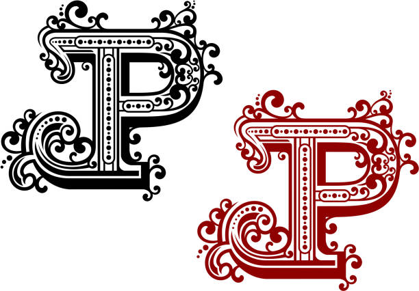 Capital Letter P With Curly Flourishes Vector Art Illustration