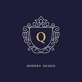 Vector illustration of Capital letter Q. Beautiful monogram. Elegant logo. Calligraphic design. Luxury emblem. Vintage ornament. Simple graphics style. Flourishes boutique brand. Creative Royal mark.