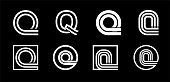 Capital letter Q. Modern set for monograms, logos, emblems, initials. Made of white stripes Overlapping with shadows.