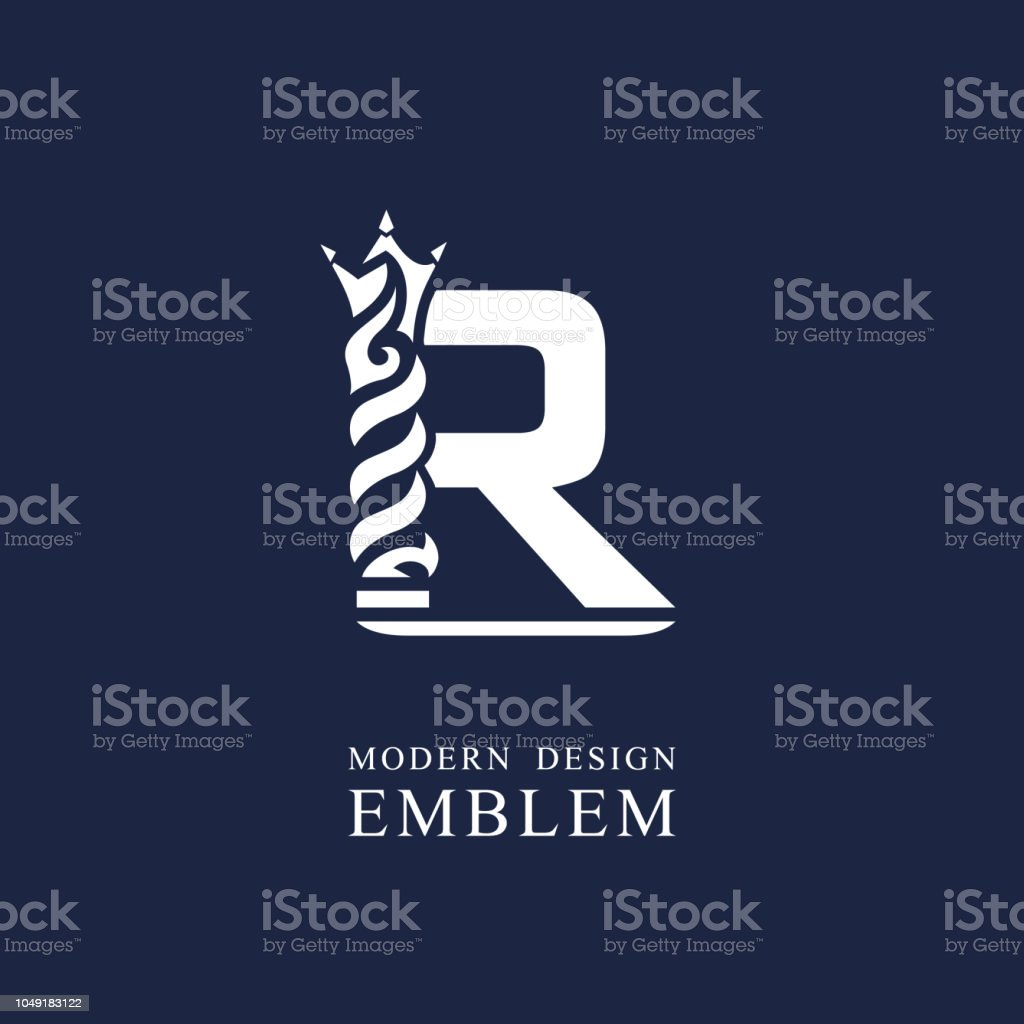 Vector illustration of Capital letter R. Graceful royal style....