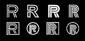 Capital letter R. Modern set for monograms, logos, emblems, initials. Made of white stripes Overlapping with shadows.