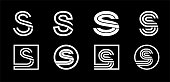 Capital letter S. Modern set for monograms, logos, emblems, initials. Made of white stripes Overlapping with shadows
