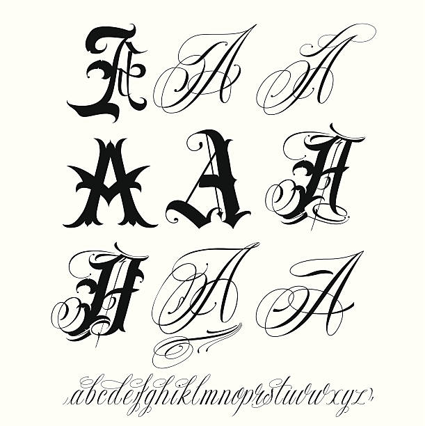 Best Silhouette Of Tattoo Cursive Alphabet Illustrations