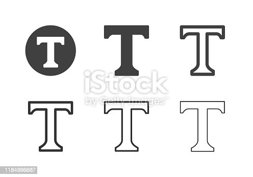 Capital Letter T Icons Multi Series Vector EPS File.