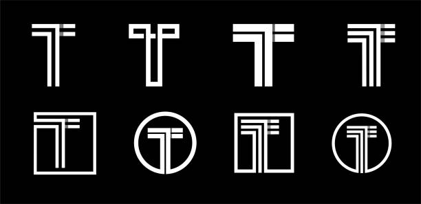 Capital letter T. Modern set for monograms, logos, emblems, initials. Made of white stripes Overlapping with shadows. Capital letter T. Modern set for monograms, logos, emblems, initials. Made of white stripes Overlapping with shadows letter t stock illustrations