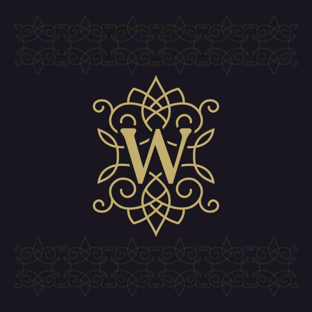 großbuchstaben w. beautiful monogramm. elegante logo. kalligraphische gestaltung. luxus-emblem. vintage ornament. einfache grafik-stil. boutique-marke auf schwarzem hintergrund gedeiht. vektor-illustration - monogrammarten stock-grafiken, -clipart, -cartoons und -symbole