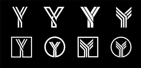 Capital letter Y. Modern set for monograms, logos, emblems, initials. Made of white stripes Overlapping with shadows.