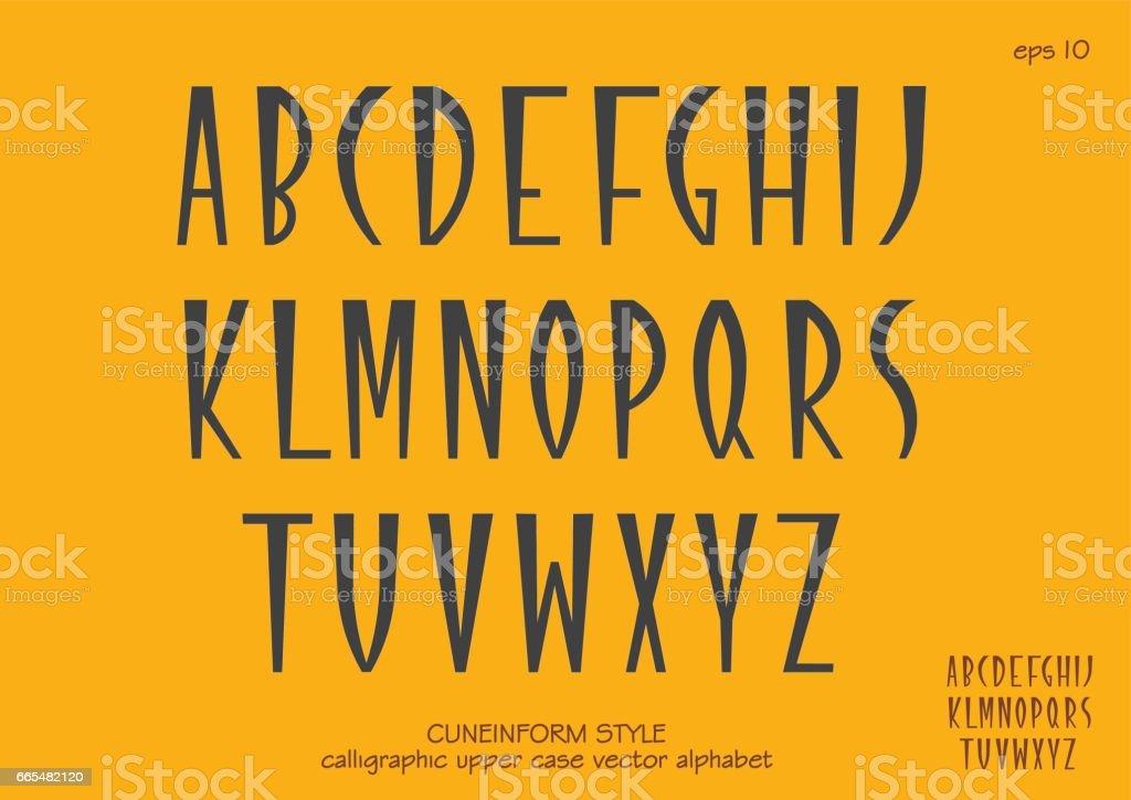 Capital letters in cuneiform style. vector art illustration