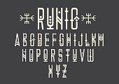 Capital letters in geometric ethnic style with points.