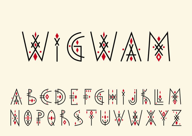Capital letters in geometric indigenous style. For hipster theme, trendy posters. Vector alphabet set. Capital letters in geometric indigenous style. For hipster theme, trendy posters. teepee stock illustrations