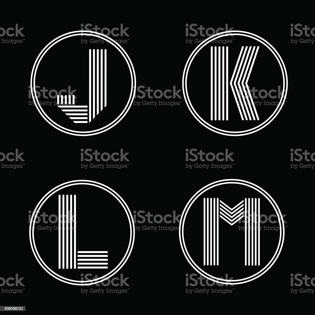 Capital letters J, K, L, M . From white stripe in vector art illustration