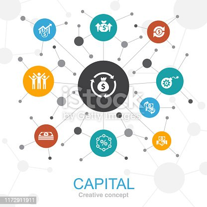 capital trendy web concept with icons. Contains such icons as dividends, money, investment, success