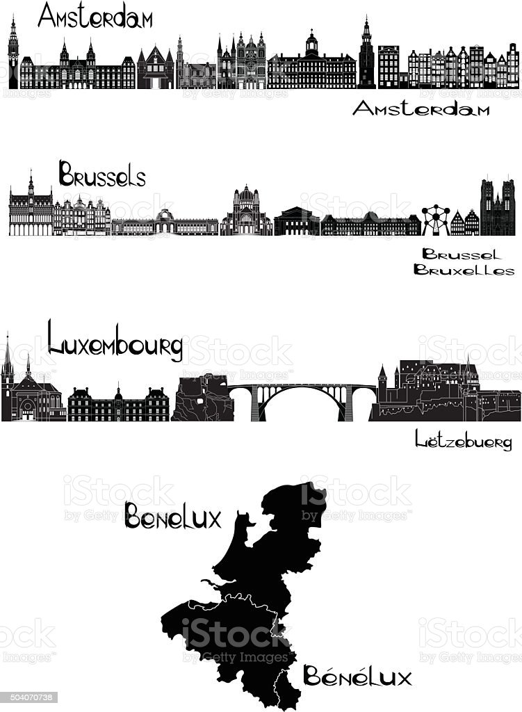 Capitals of Benelux vector art illustration
