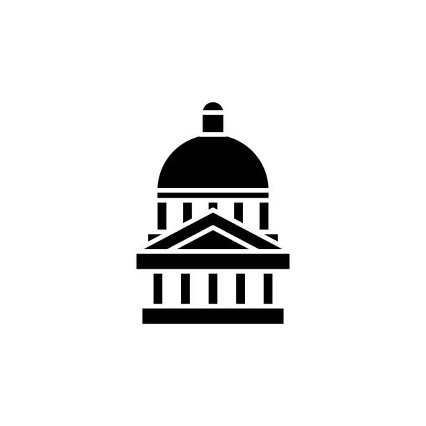 國會大廈黑圖示概念。國會平面向量符號, 符號, 插圖。向量藝術插圖