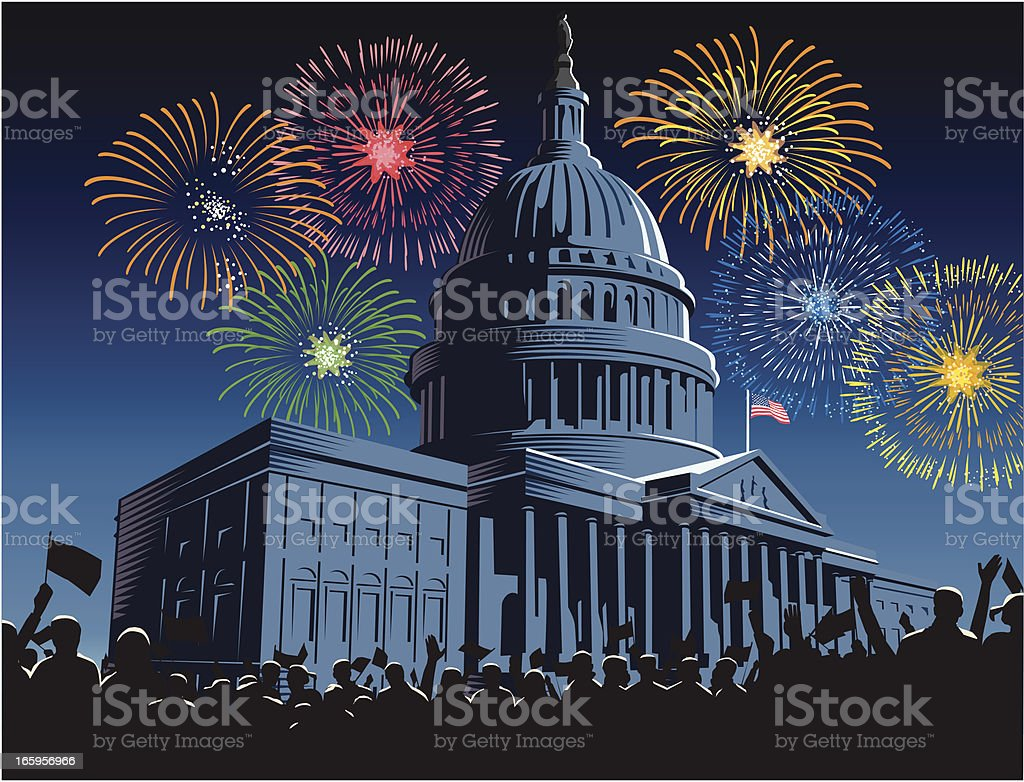 Capitol Building at night with fireworks vector art illustration