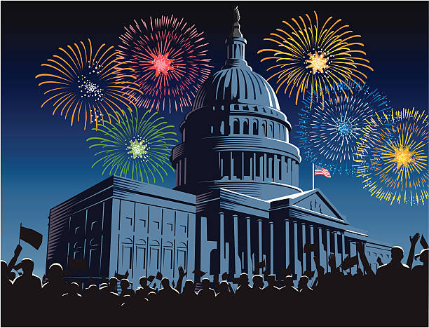 capitol building at night with fireworks - inauguration stock illustrations