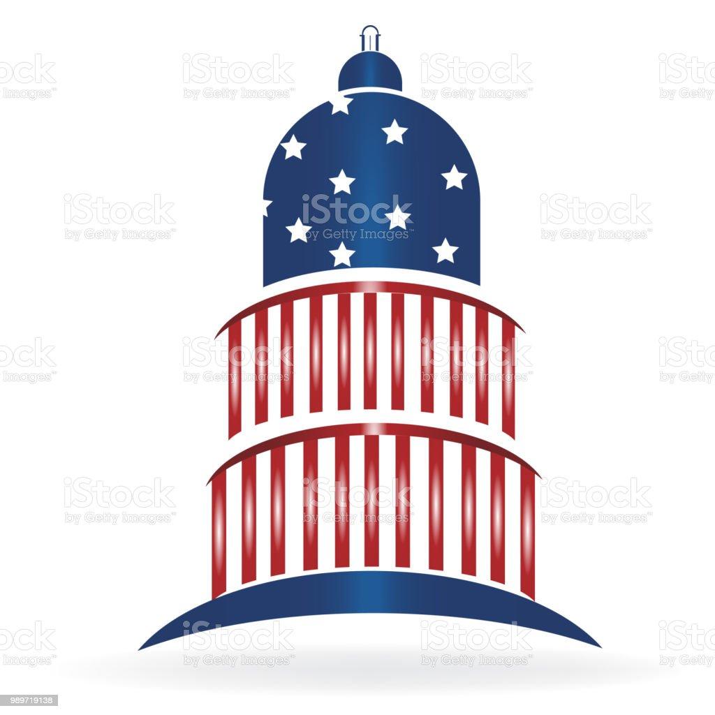 Capitol building cupola USA flag vector icon