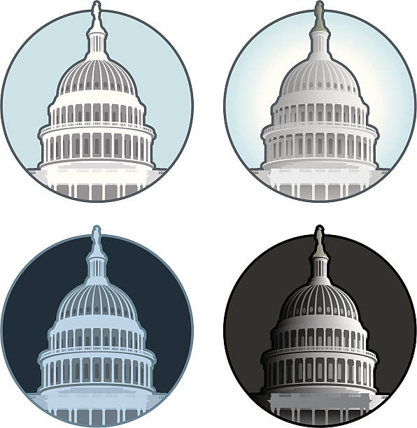 capitol dome - abgeordnetenhaus stock-grafiken, -clipart, -cartoons und -symbole