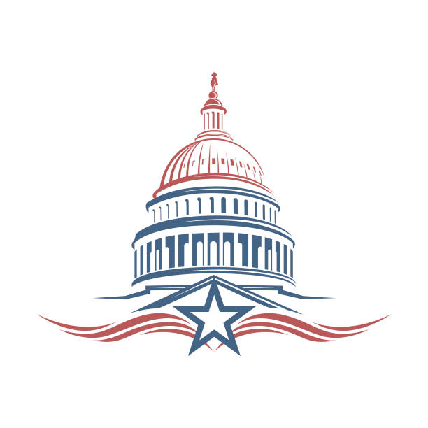 capitol building icon United States Capitol building icon in Washington DC president stock illustrations