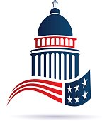 Capitol building icon with american flag. Vector design